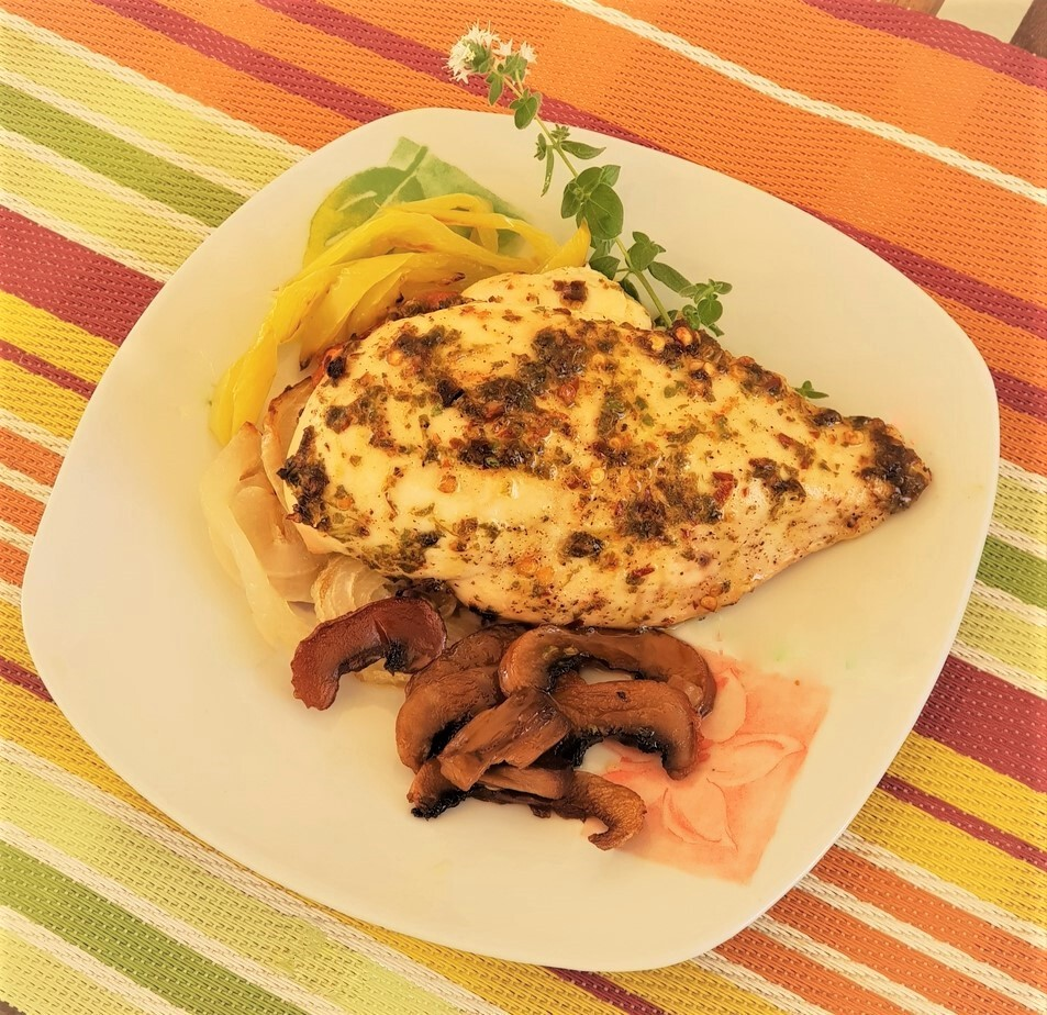 Κοτόπουλο Chimichurri με ψητά λαχανικά