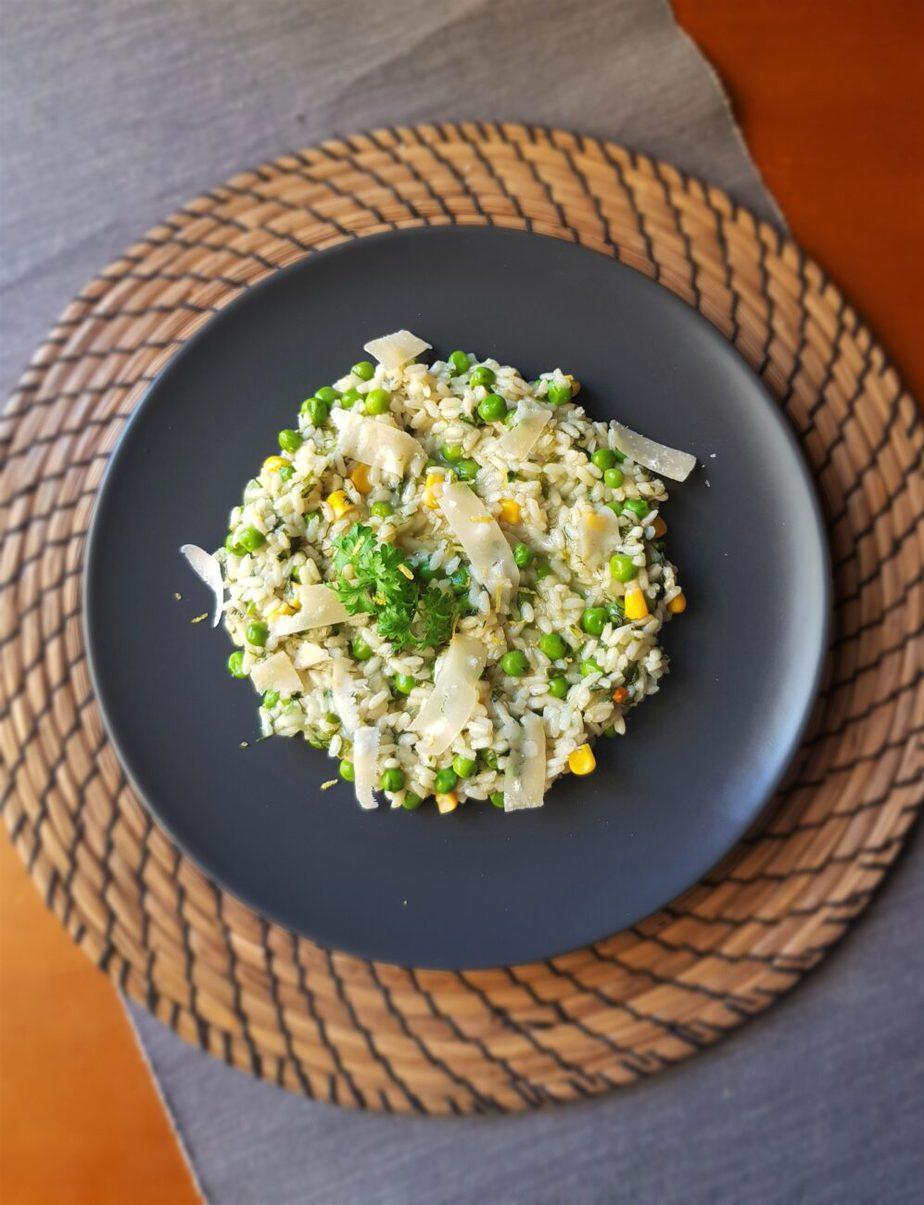 Ριζότο με αρακά και καλαμπόκι